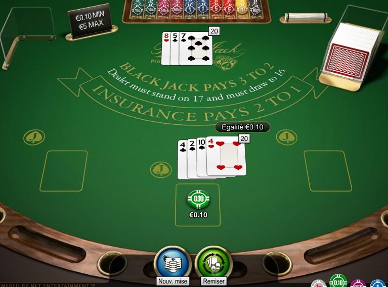 Table de blackjack en RNG