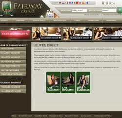 Tournoi jeux en live sur Fairway Casino