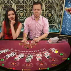 Blackjack Party de Evolution Gaming,un des tois logiciels live sur Cresus Casino