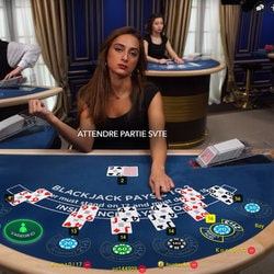 Croupière sur une table de baccarat en direct