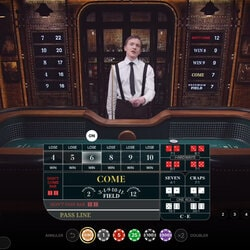 Croupier sur la table Craps Live d'Evolution