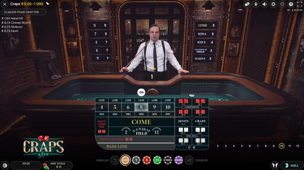 Craps Live est un jeu de dés en ligne avec croupiers n'en direct d'Evolution