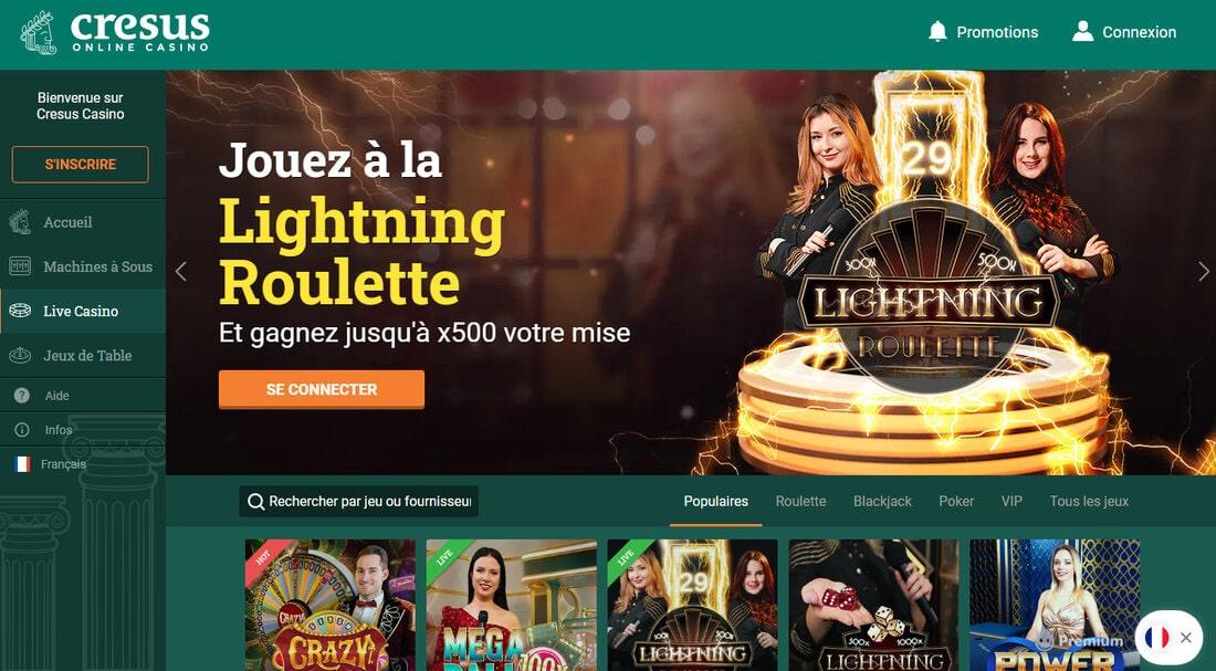 Cresus Casino est le meilleur live casino français