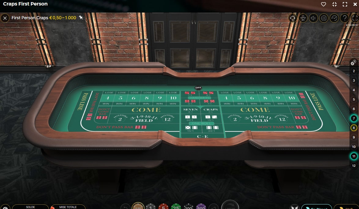 Table du jeu Craps First person d'Evolution avec studio 3D