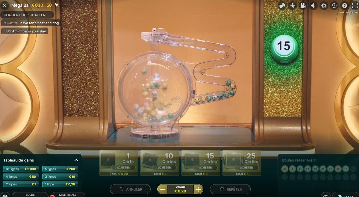 Les boules du bingo en ligne Mega Ball d'Evolution