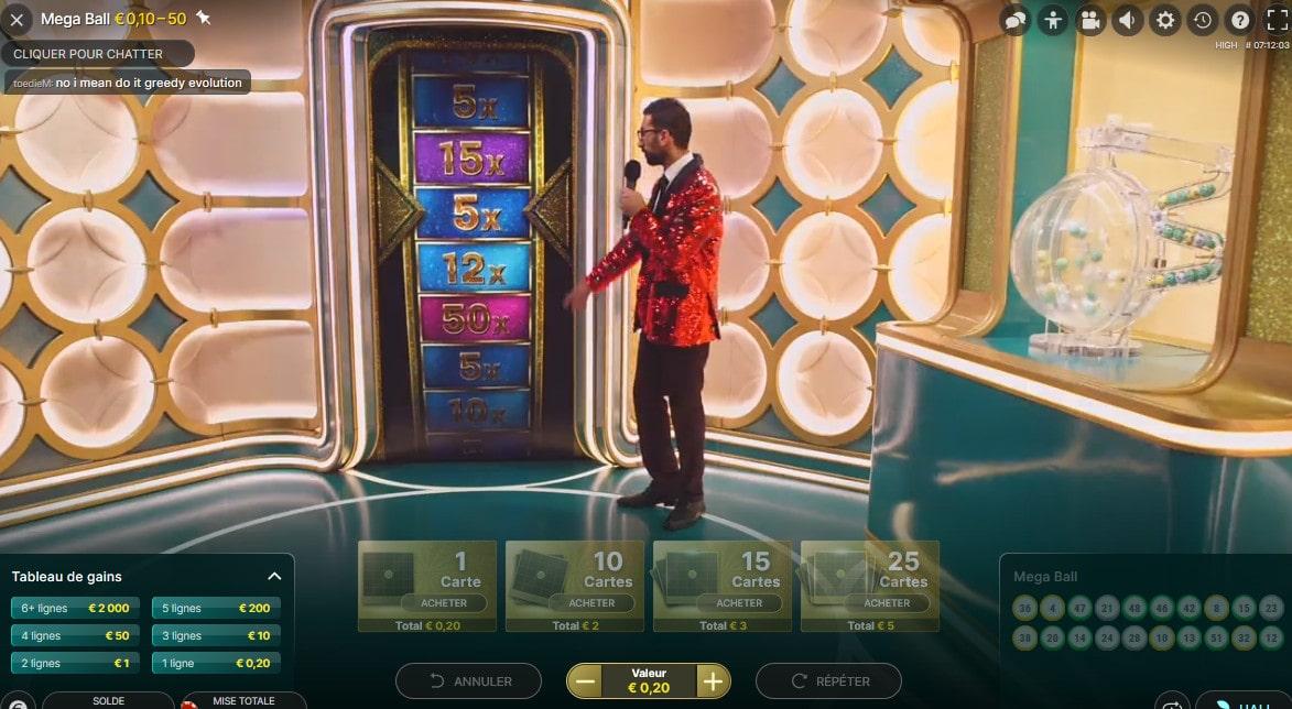 Roue du multiplicateur de gains du show TV Mega Ball