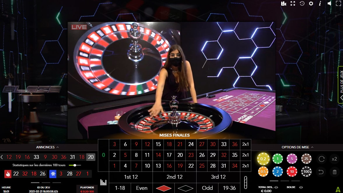 La Blaze Roulette d'Authentic Gaming est la seconde meilleure roulette en live