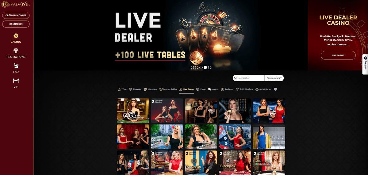Live casino NevadaWin avec croupiers en direct